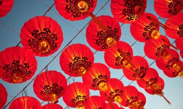 Asian lanterns during a religiuos festival.
