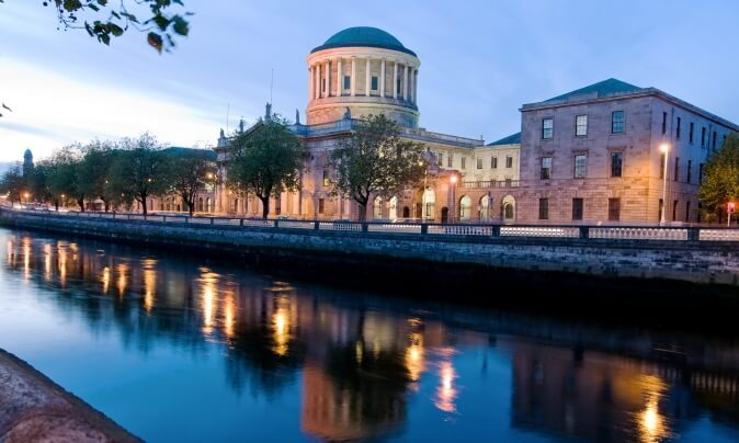 The Four Courts in Dublin at Night.