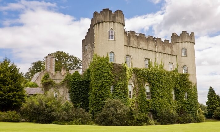 Malahide medieval castle in Dublin - rear view.