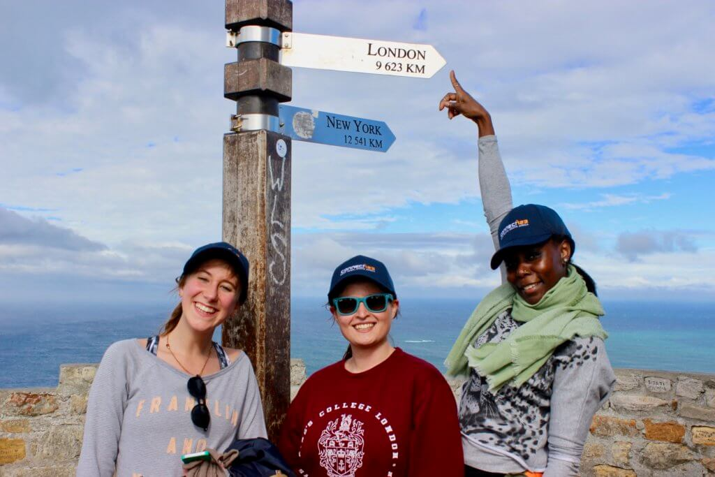 Three King's College students in Cape Town at Cape Point