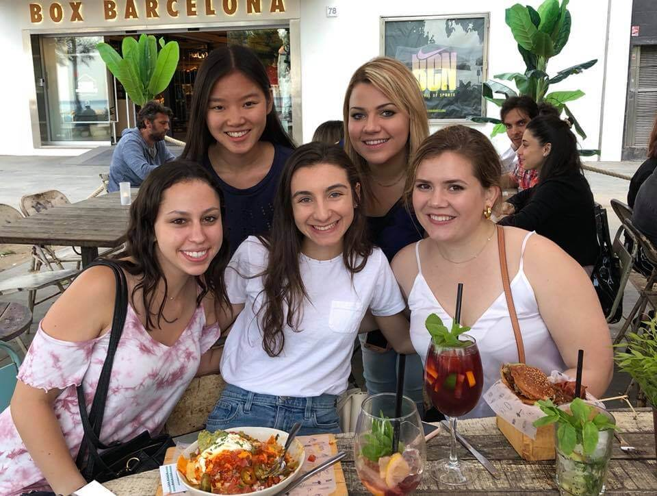 Interns in Barcelona enjoy a casual lunch and afternoon meet-up.