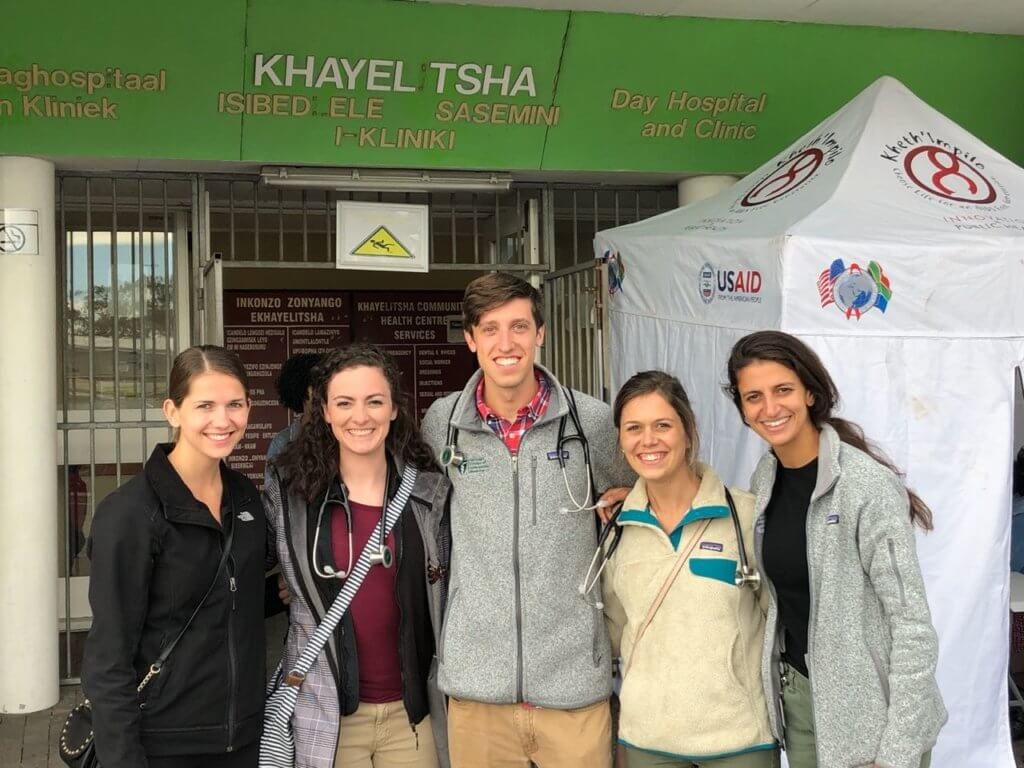 Healthcare interns in Cape Town on site at their host clinic.